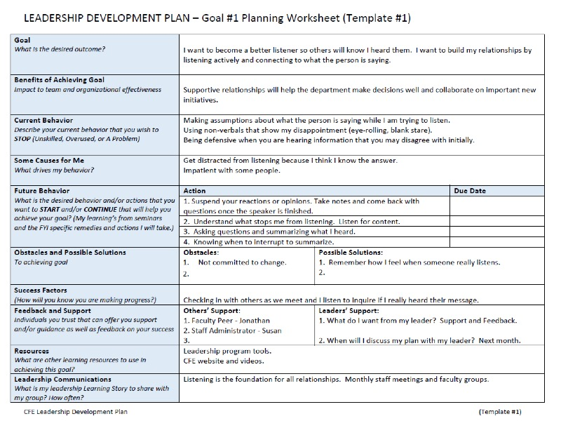 Individual Development Plan Template from cfe.unc.edu