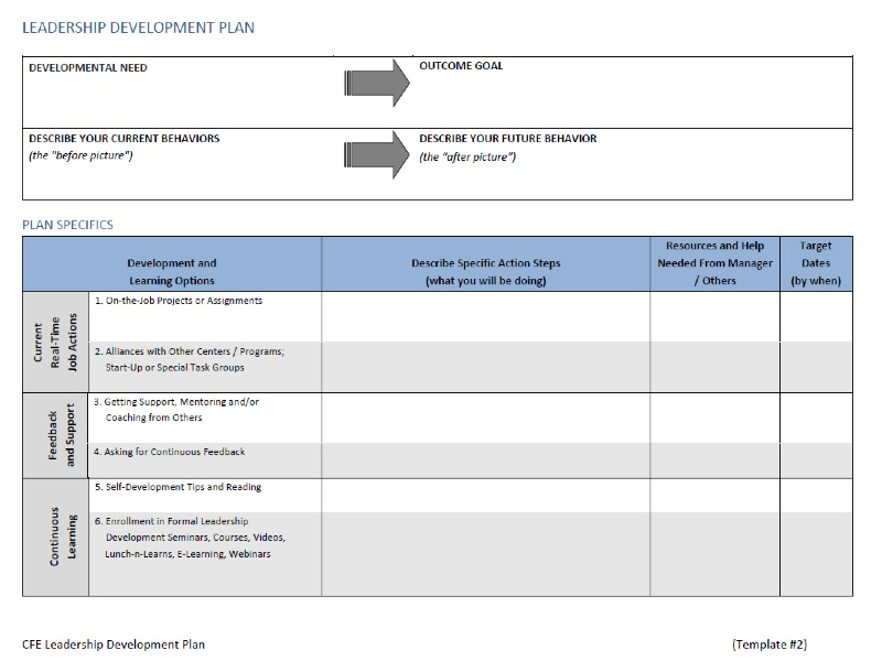 leadership development plan template